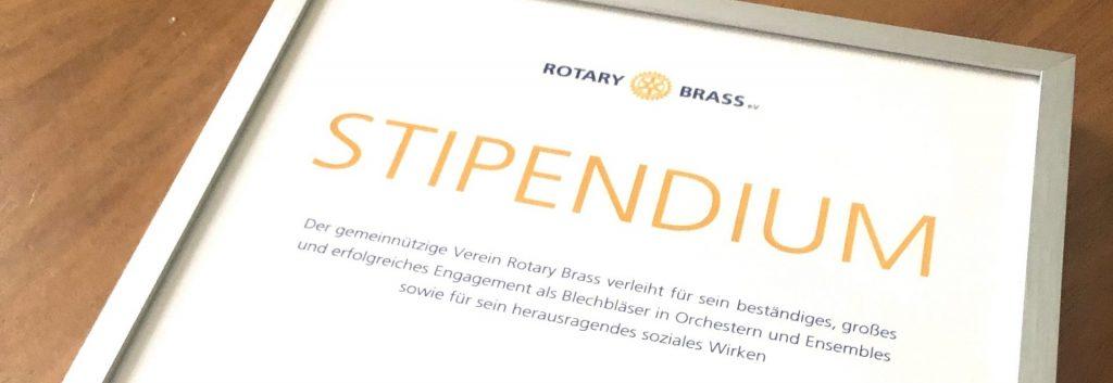Bild des Zertifikates des Rotary-Brass-Fellow-Programms